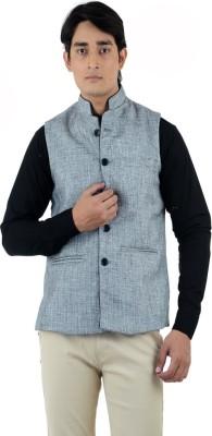 American-Elm Sleeveless Self Design Men's Jacket