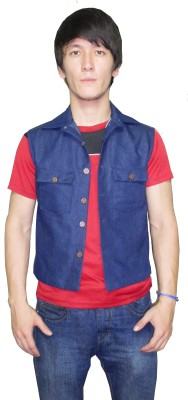 Hydra Sleeveless Solid Men,s Denim Jacket