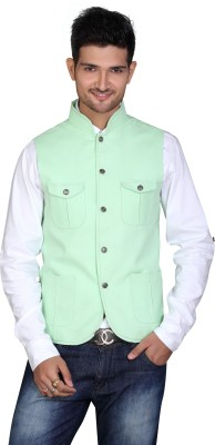 Fuzion Couture Sleeveless Solid Men's Linen Jacket