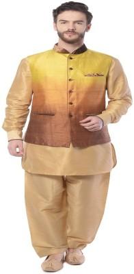 Mohanlal Sons Sleeveless Self Design Men's Linen Jacket