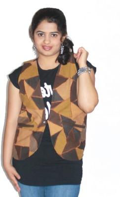 Lolaski Sleeveless Self Design Women's Jacket