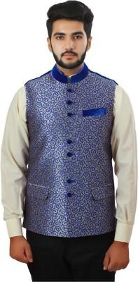Ethnic Monarch Sleeveless Self Design Men's Jacket