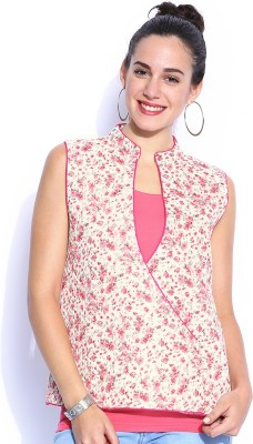 Anouk Sleeveless Floral Print Women,s Quilted Jacket