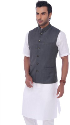 Jadeblue Sleeveless Self Design Men's Jacket