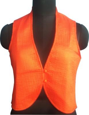 M S Export Wedding, Casual, Party Sleeveless Argyle, Self Design, Floral Print, Woven Girl's Orange Top
