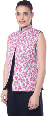 Lavennder Sleeveless Floral Print Womens Jacket