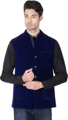 Roar and Growl Sleeveless Solid Men's Velvet Jacket