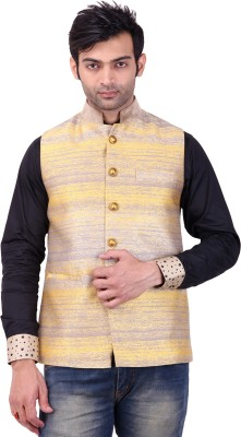 Apex Tailor Sleeveless Self Design Men's Nehru Jacket Jacket
