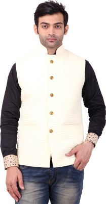 Apex Tailor Sleeveless Self Design Men's Nehru Jacket Linen Jacket
