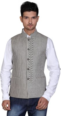 Fuzion Couture Sleeveless Striped Men's Linen Jacket