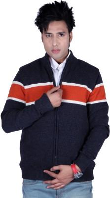 Deutz Full Sleeve Solid, Striped Men's Woolen Jacket