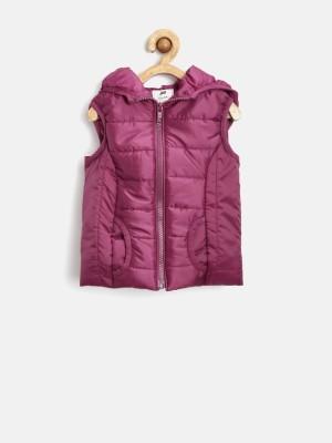 Yk Sleeveless Solid Girl's Jacket