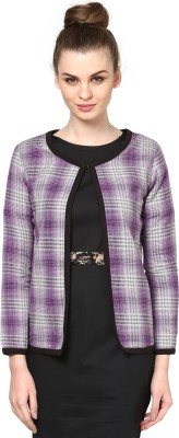 Golden Couture Full Sleeve Checkered Women's Yarn-Dyed Jacket