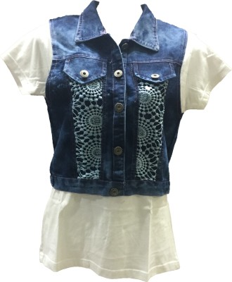 Dovekie Sleeveless Self Design Women's Denim Jacket