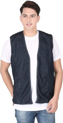 Magneto Sleeveless Solid, Self Design Men's Jacket