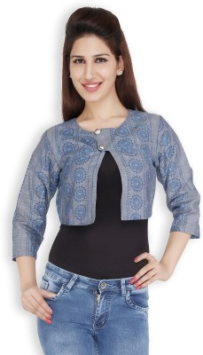 Free Spirited 3/4 Sleeve Printed Women's Denim Jacket