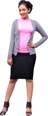 Change360° Full Sleeve Houndstooth Women's Knitwear Jacket