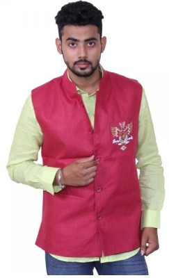 Austrich Sleeveless Solid Men's Linen Jacket