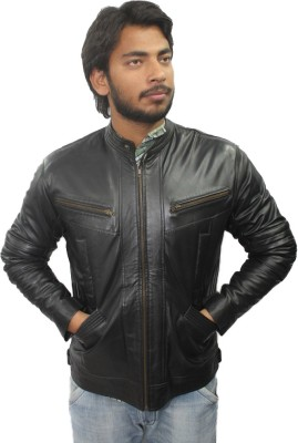 Tarana Leather Art Full Sleeve Solid Men's Jacket