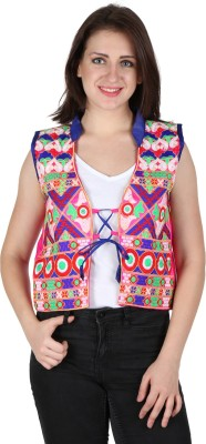 Franclo Sleeveless Embroidered Women's Open Jacket