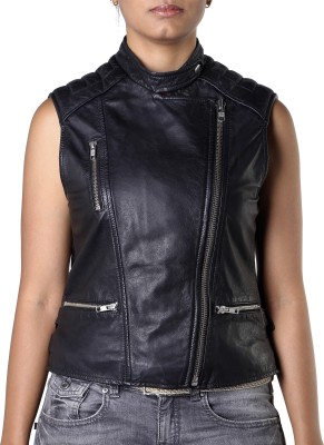Theo&Ash Sleeveless Solid Women's Motorcycle Jacket