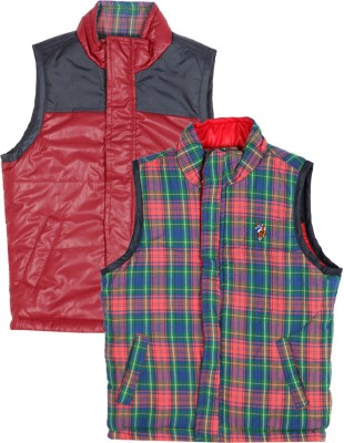 U S Polo Kids Sleeveless Checkered Boys Reversible Jacket Jacket