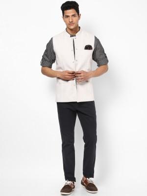 Even Sleeveless Striped Men's Linen Jacket