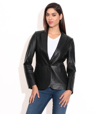 Theo&Ash Full Sleeve Solid Women's Blazer Style Jacket