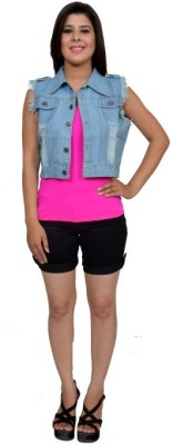 Maya Apparels Sleeveless Solid Women's Denim Jacket