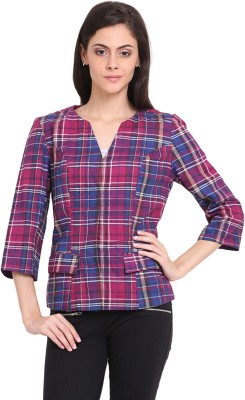 Ridress 3/4 Sleeve Checkered Women's Jacket