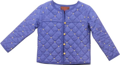 My Little Lambs Full Sleeve Self Design Girl's Quilted Jacket