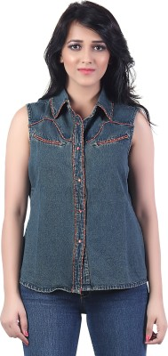 Bfly Sleeveless Embroidered Women's Denim Jacket