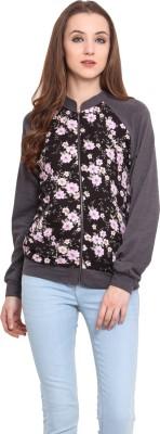 Blue Sequin Full Sleeve Floral Print Women's Jacket