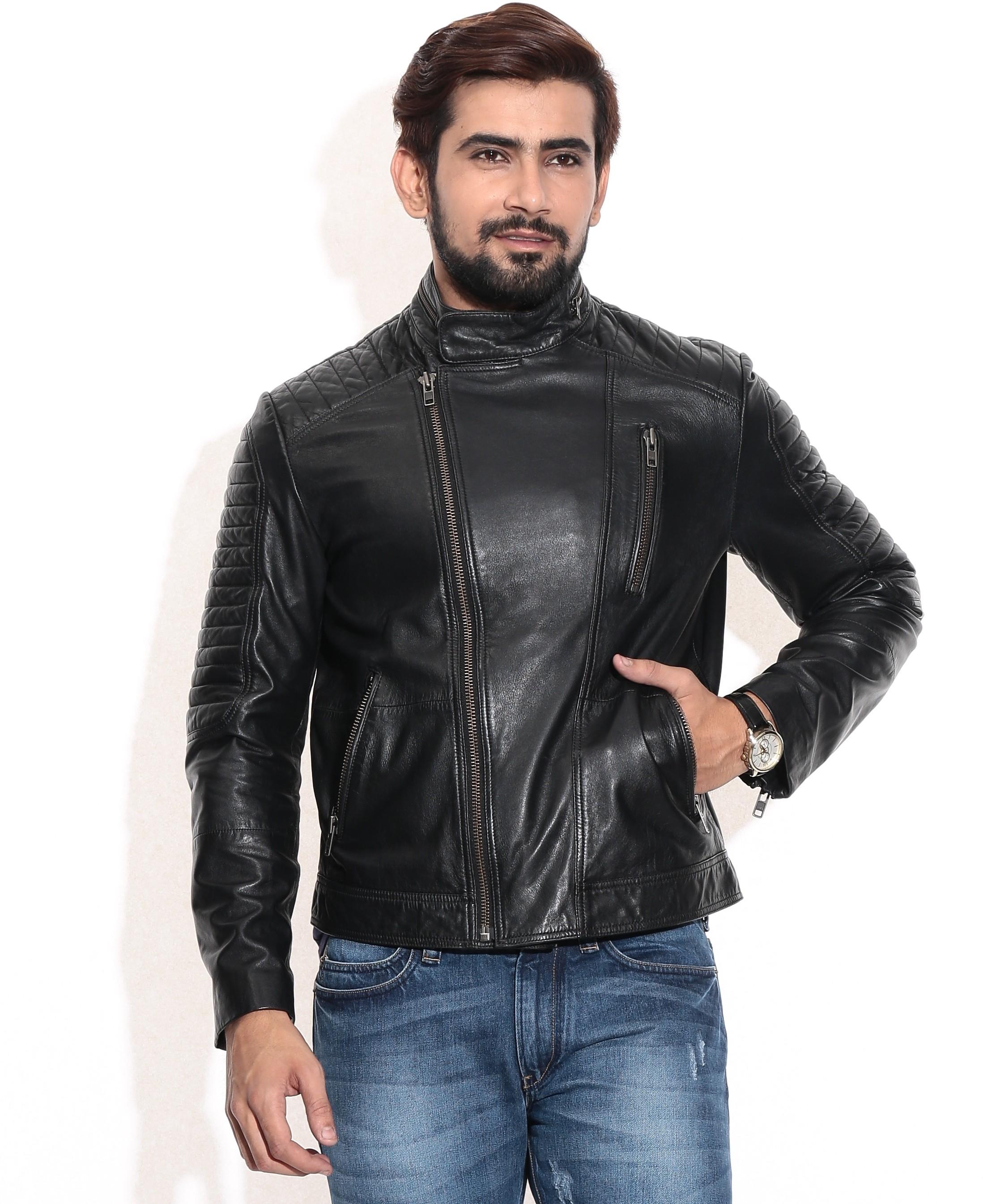 Theo&Ash Full Sleeve Solid Men's Biker Jacket - Knit Wear
