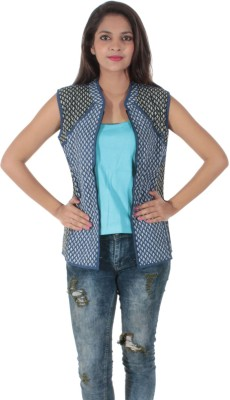 Bleu Sleeveless Printed Women's Jacket