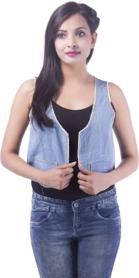 Goodwill Impex Sleeveless Solid Women's Denim Denim Jacket