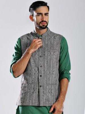 Fabindia Sleeveless Printed Men's Jacket