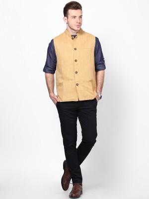 Even Sleeveless Self Design Men's Linen Jacket