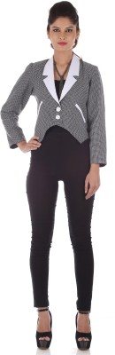 R Factor Full Sleeve Checkered Women's Checkered Formal Jacket