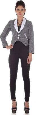 R Factor Full Sleeve Checkered Women,s Checkered Formal Jacket