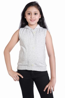 Just Clothes Sleeveless Self Design Girl's Jacket
