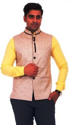 M S Creation Sleeveless Self Design Men's Jacket