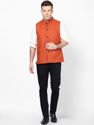 Even Sleeveless Solid Men's Linen Jacket
