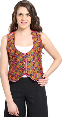 Desi Weaves Sleeveless Woven Women's Jaquard Woven Jacket
