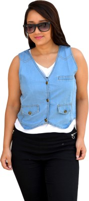 Aarti Collections Sleeveless Solid Women,s Denim Jacket