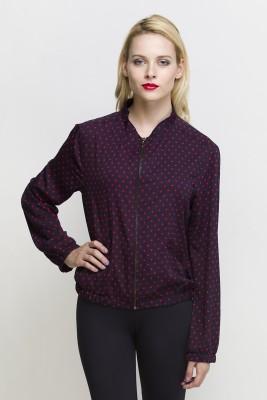 Oxolloxo Full Sleeve Polka Print Women's Bomber Jacket