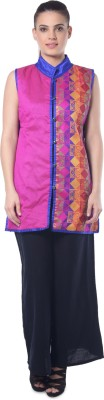 Lavennder Sleeveless Printed Women's Jacket