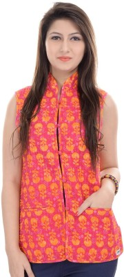JaipurKurti Sleeveless Floral Print, Solid Women's Jacket