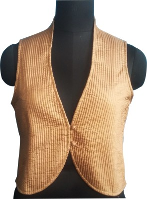 M S Export Wedding, Casual, Party Sleeveless Argyle, Self Design, Floral Print, Woven Women's Beige Top