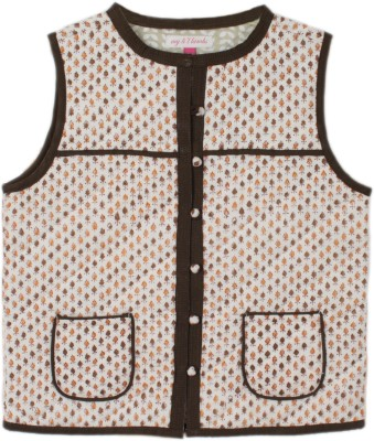 My Little Lambs Sleeveless Printed Girl's Quilted Jacket